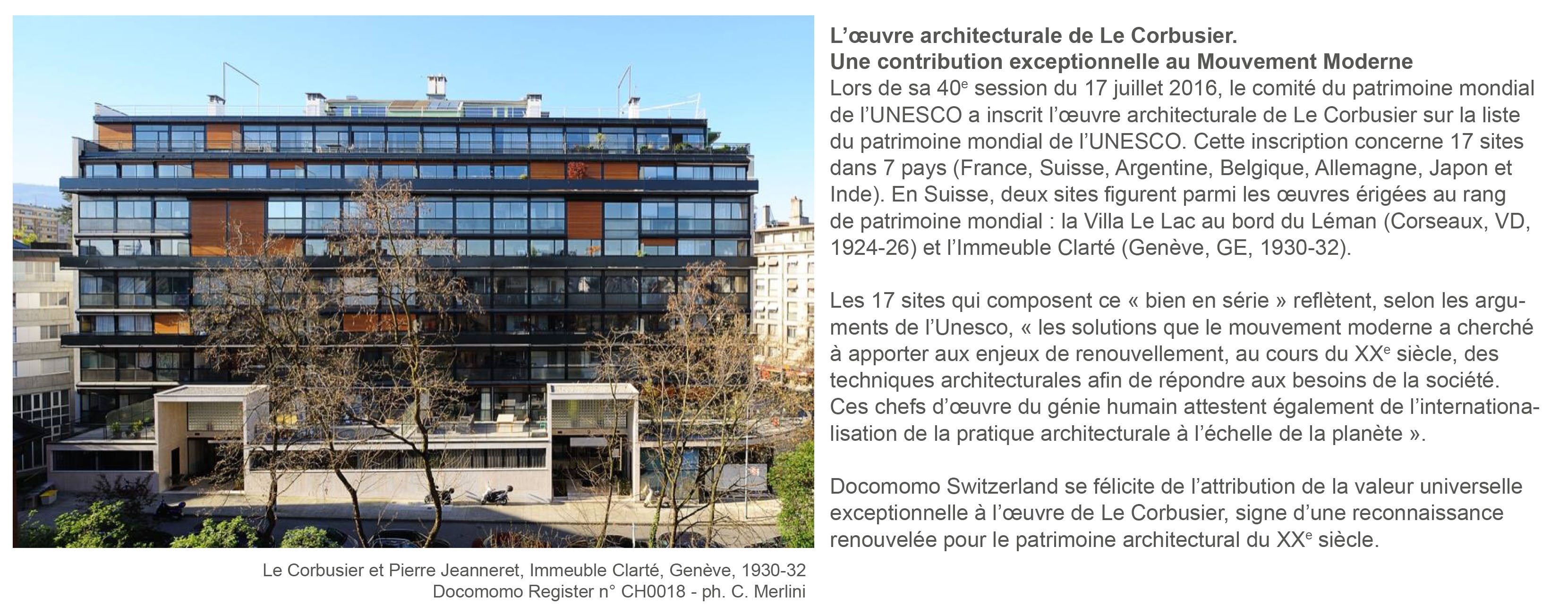 docomomo switzerland classement Unesco Le Corbusier
