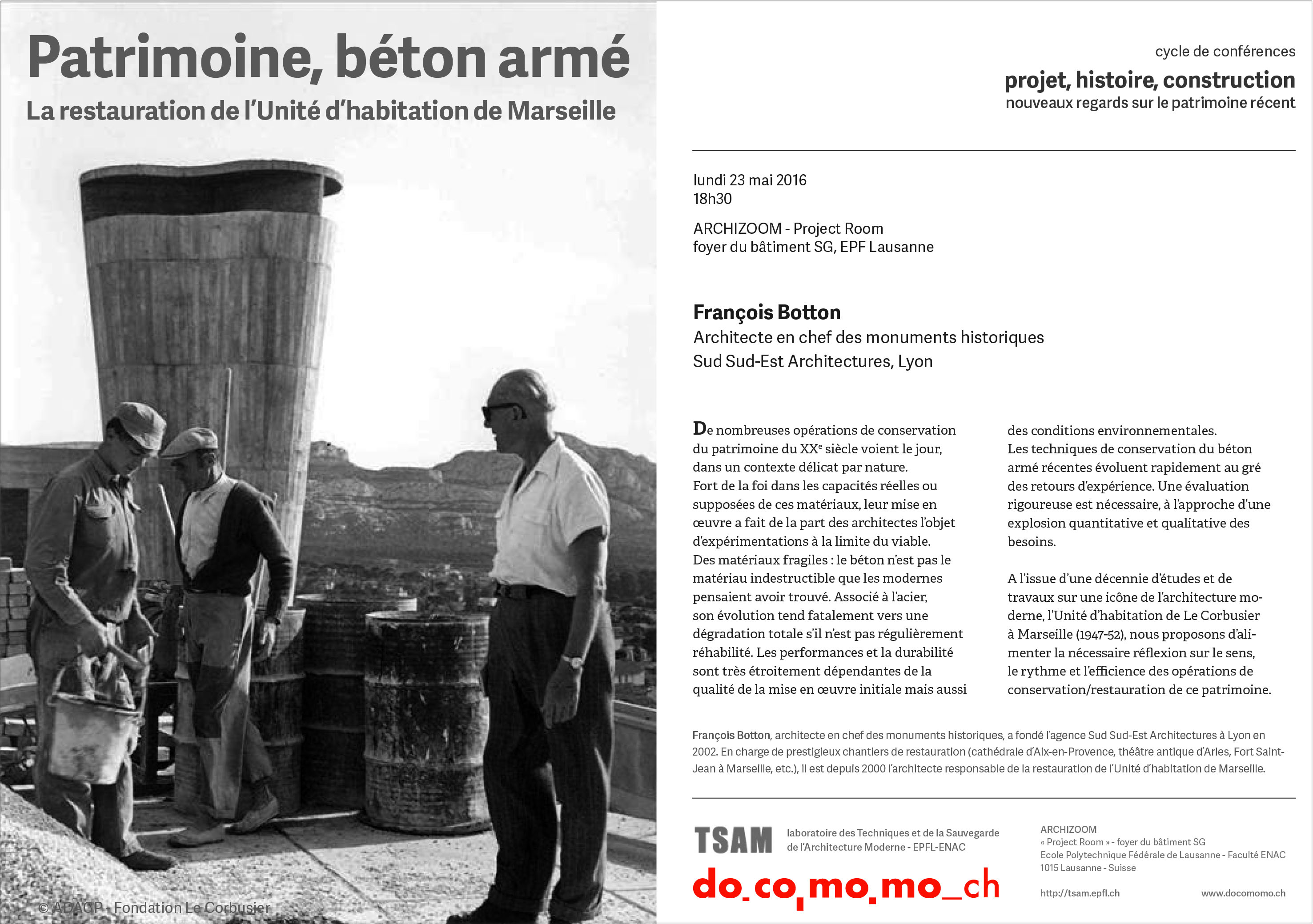 conférence tsam docomomo swizuerland unité habitation marseille françois botton restauration