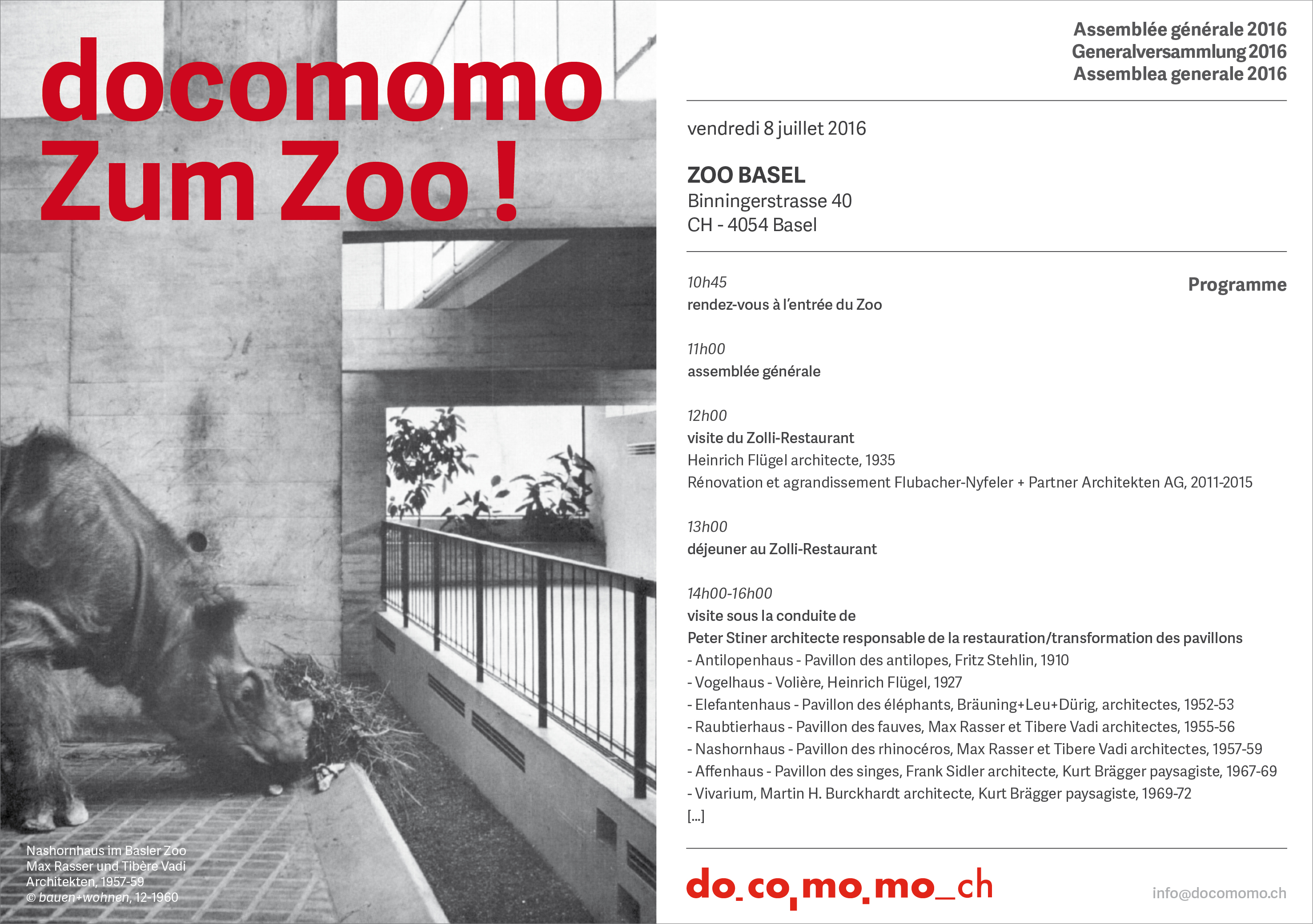 Docomomo Switzerland zoo Basel Peter Stiner