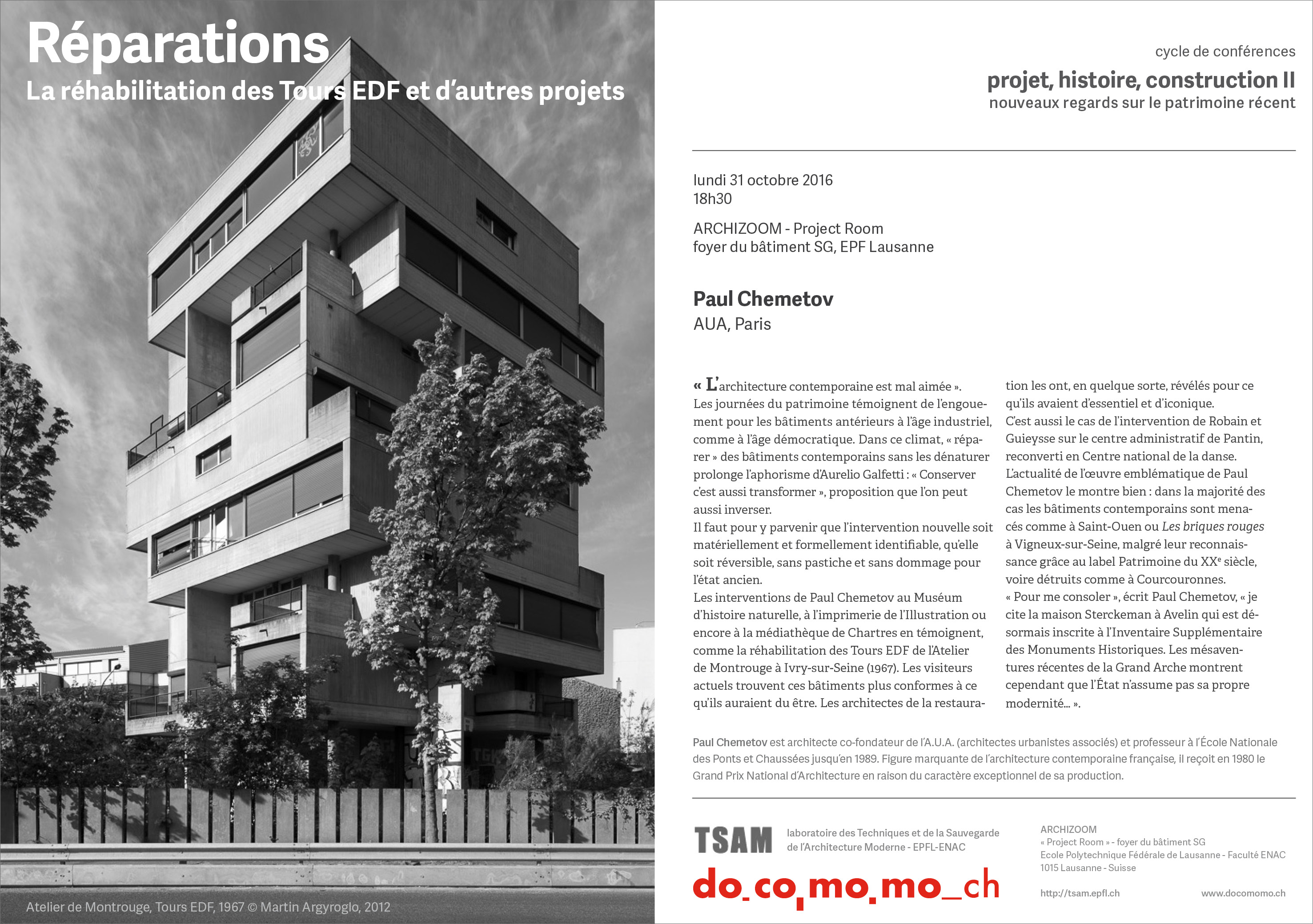 docomomo switzerland TSAM-EPFL Paul Chemetov Atelier de Montrouge
