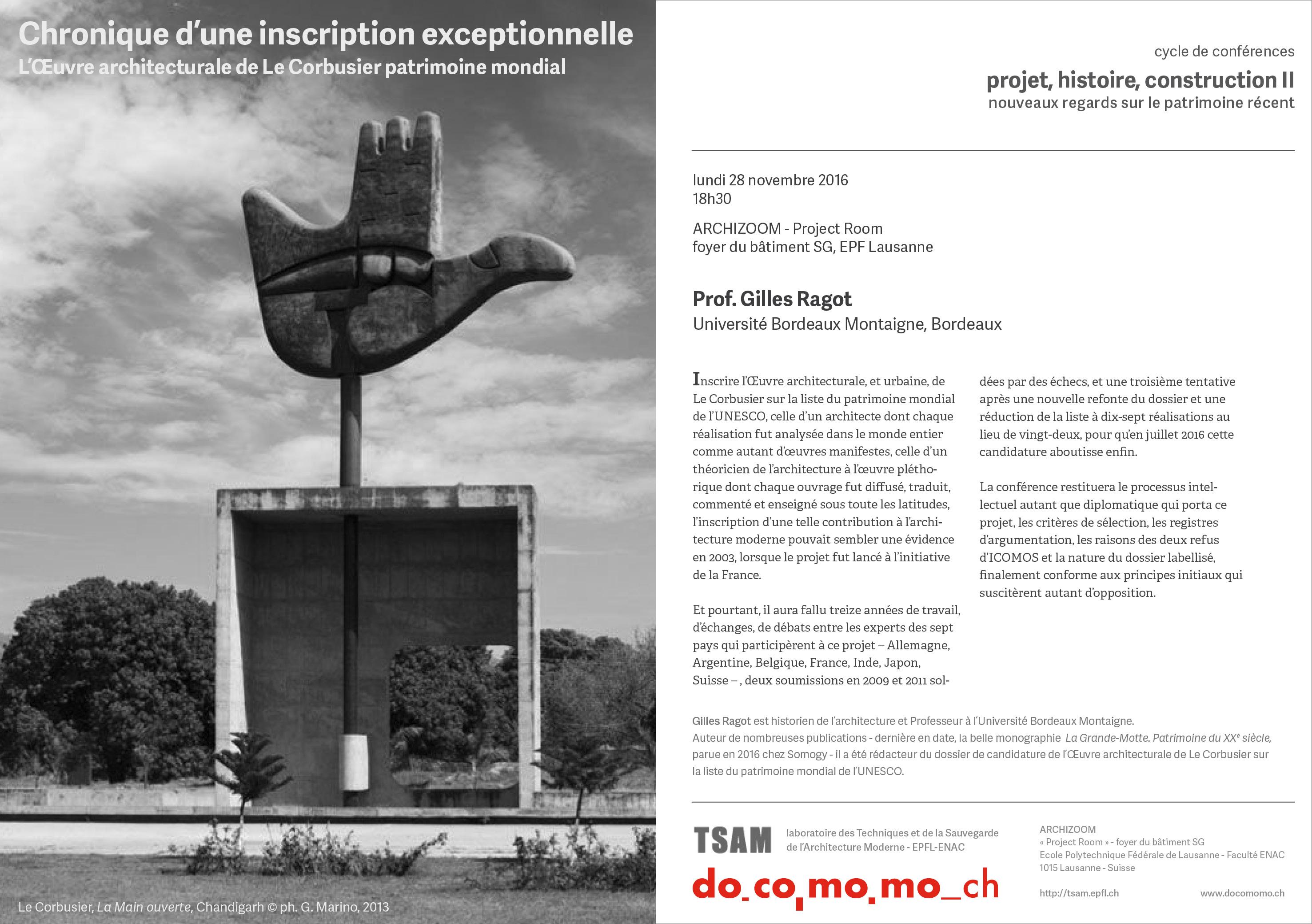 Gilles Ragot Le Corbusier UNESCO patrimoine mondial Chandigarh