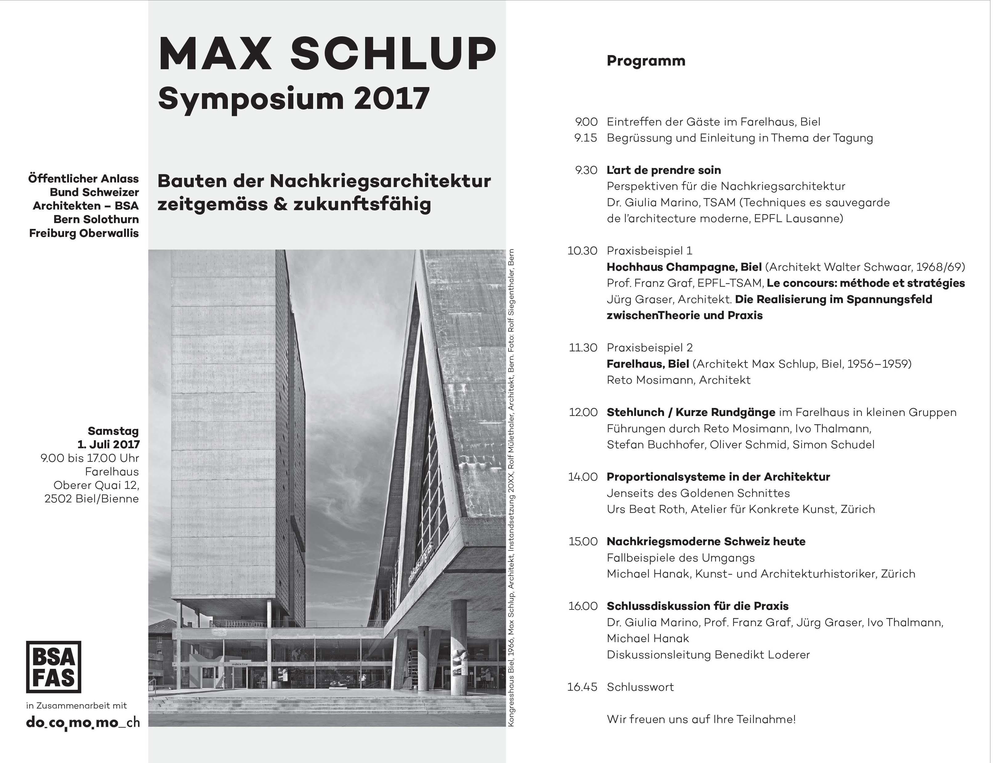 Max Schlup FAS BSA Bern Docomomo Switzerland